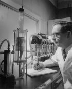 Calvin Hughes checking the operation of a newly-designed blood oxygenator